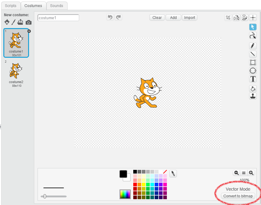 You can edit sprites in the Costumes tab in Scratch.
