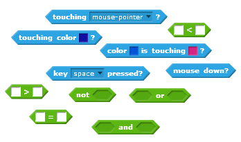 An assortment of the Boolean blocks that you can find in Scratch.