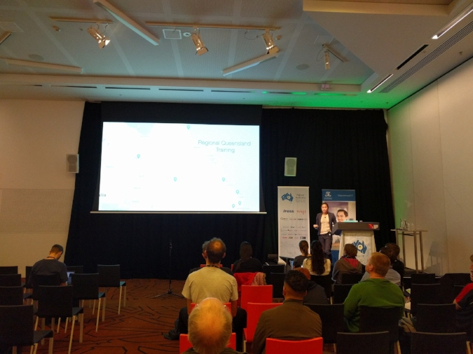 Emily de la Pena presenting at the PyCon - Python in Education Seminar, Melbourne, Friday 4 August 2017.