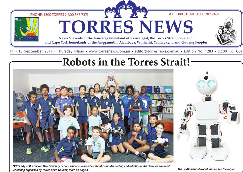 Coding Kids founder Emily de la Pena shares her passion for coding nd robotics with students from Our Lady of the Sacred Heart Primary School in the Torres Shire Council