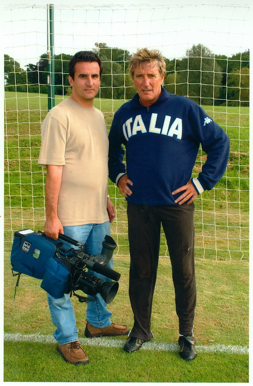2001 Filming Celtic Football Club's No.1 fan Sir Rod Stewart on his own personal full size football pitch