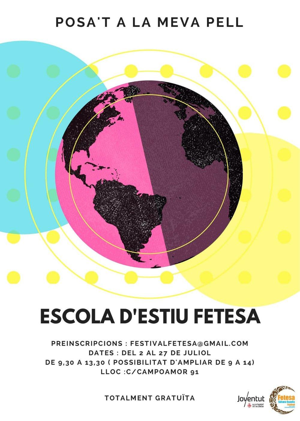 ESCOLA ESTIU - Des del projecte FETESA de La Monda Lironda Teatre amb col.laboració amb el projecte Vacances en Pau,impulsem amb la Regidoria de Joventut de València, l'escola d'estiu d.art i cooperació
