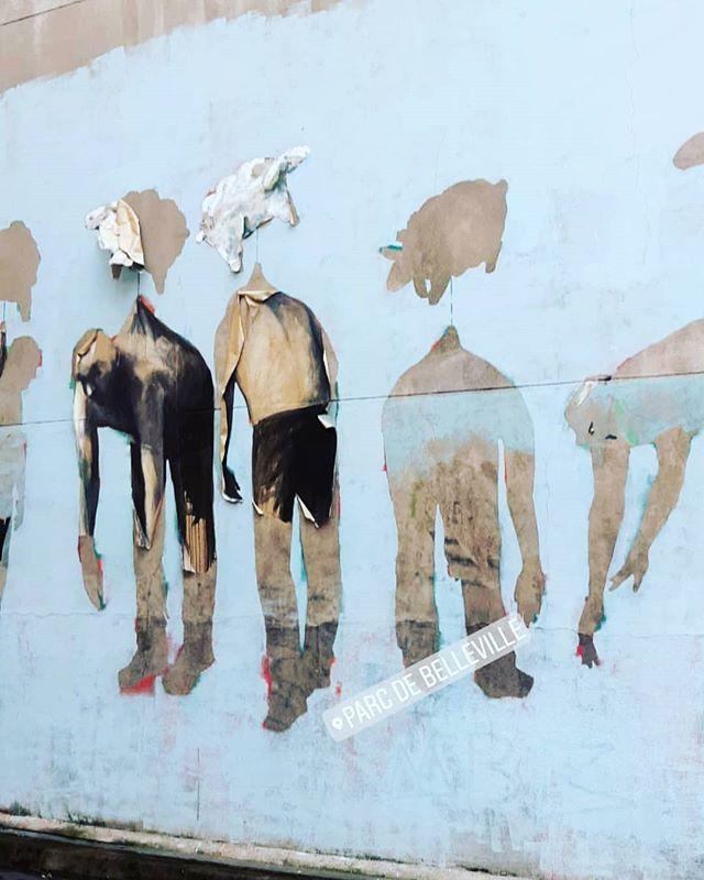 Paris Belleville . . . . #streetart #belleville #menilmontant #collage #drawing #hommes #bleu