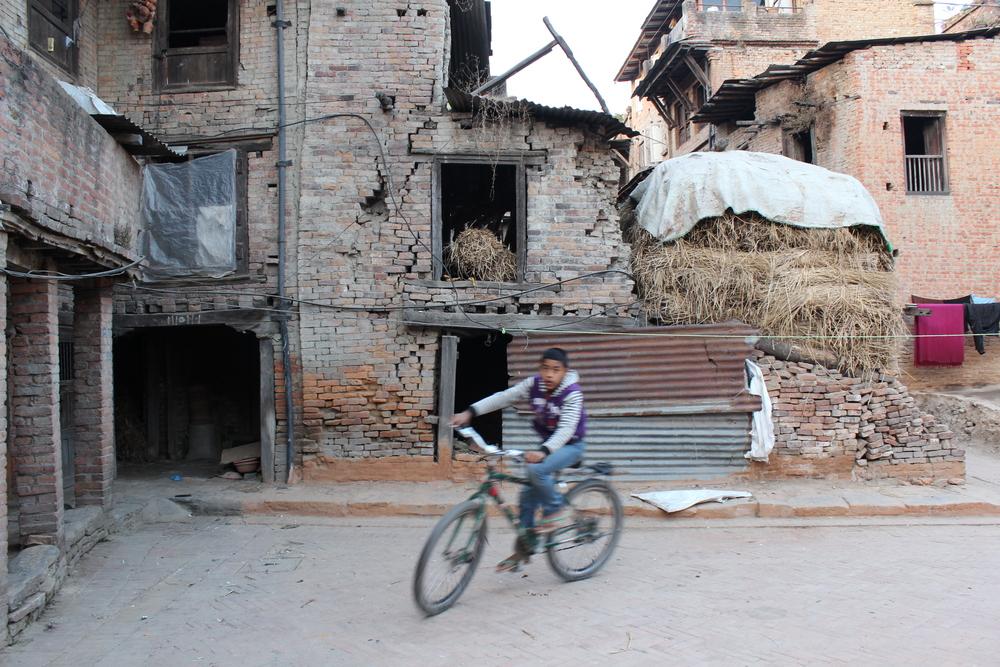 Biking in Bhaktapur, Nepal