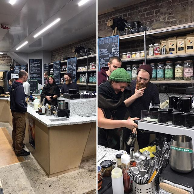 Fun espresso training session @thecastleclimbingcentre the other day. Thanks for lunch guys - so delicious even for meat eaters like us! #vegetarian #stokenewington #coffeetime