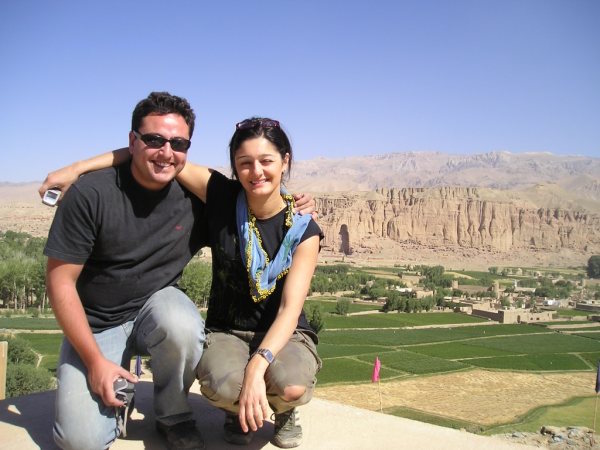 Sarah and friend overlooking Bamiyan valley
