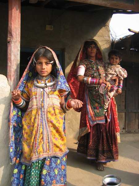 Villagers in the Rann of Kutch desert, Gujarat, India
