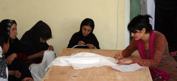 Sarah at a Turquoise Mountain sponsored Maharat embroidery training project in the old city of Kabul