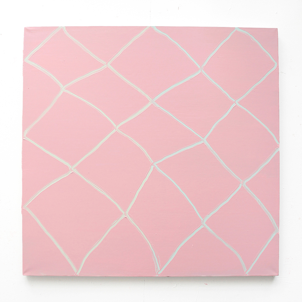 Diamonds (green, green, pink) . Oil on Linen, 105x105cm, 2015