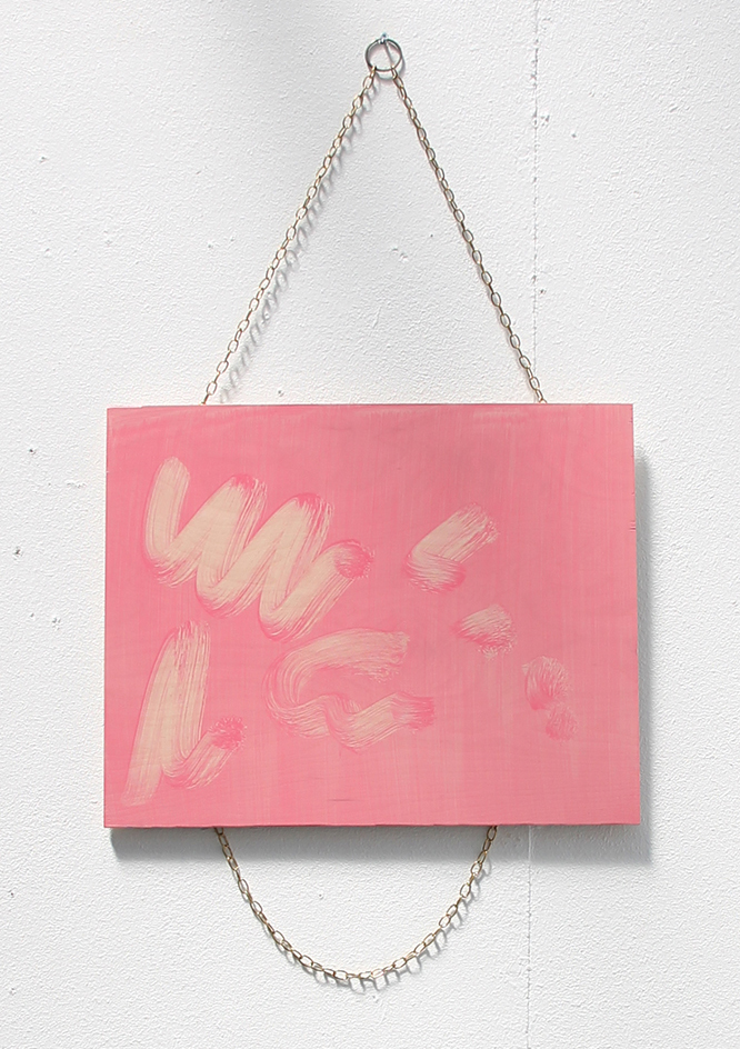 Veil (hot pink) . Oil on board, gold chain, 40x50cm, 2015