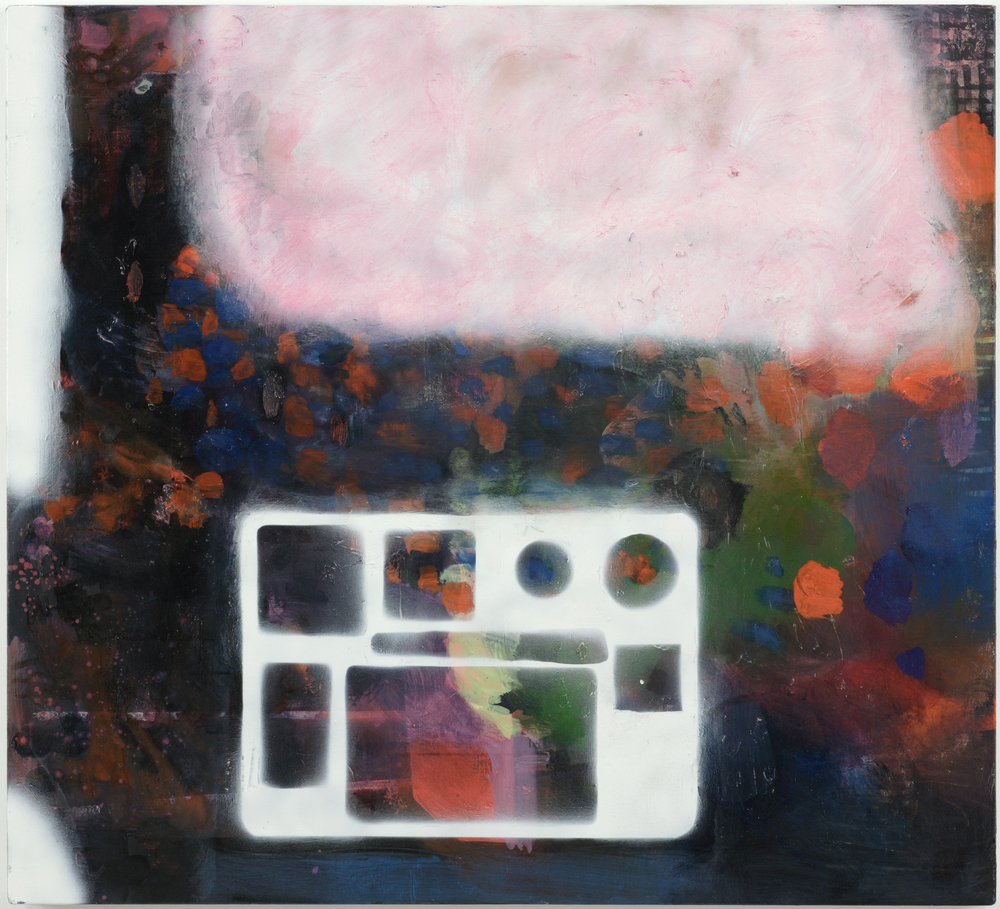 Phoebe Unwin, Aeroplane Meal, 2008, Spray paint and oil on linen, 97.5 x 107.5 cm. Image courtesy of Wilkinson Gallery.