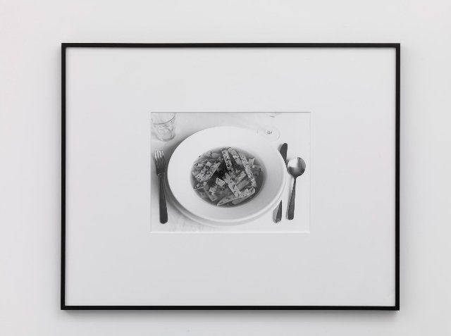 Becky Beasley, German Soup (Fritatensuppe) (Fried Crepe Soup), 2009, Gelatin silver print, 72.4 x 95.3 cm. Courtesy Laura Bartlett Gallery, London.
