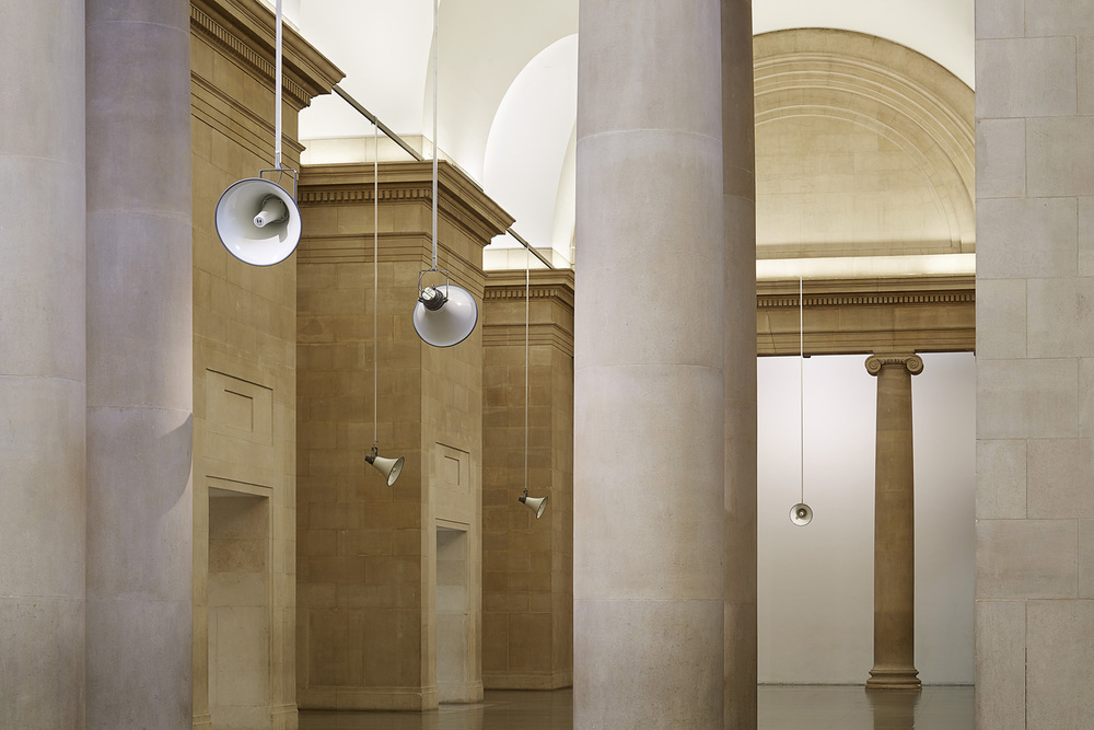 War Damaged Musical Instruments, 2015. Fourteen channel sound installation. Installation view Duveen Galleries, Tate Britain, London, 2015. Photograph: Julian Abrams.
