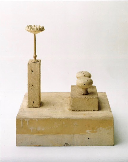Untitled (Lexington, 1948).Wood, porcelain and metal knobs, cloth, house paint. 14 ½ x 10 ½ x 12 in.
