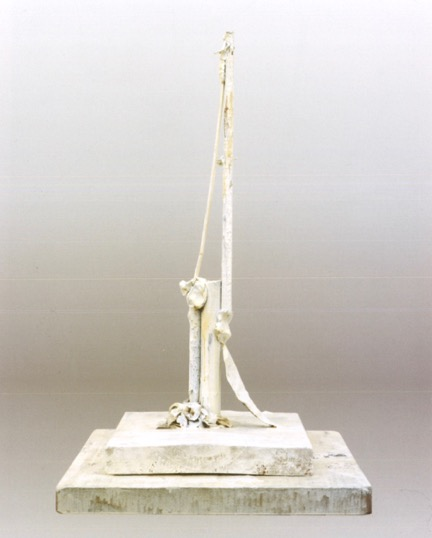 Untitled (Bassano in Teverina, 1980).Wood, plastic leaf, cloth, nails, clay, glue, white paint.30 ¼ x 13 ¾ x 13 ½ in.