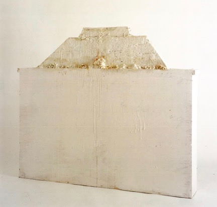 Untitled (Bassano in Teverina, 1987). Wood, plaster, nails, glue, white paint, traces of red paint, red crayon, blue crayon. 50 ½ x 59 1/8 x 10 ¾ in.