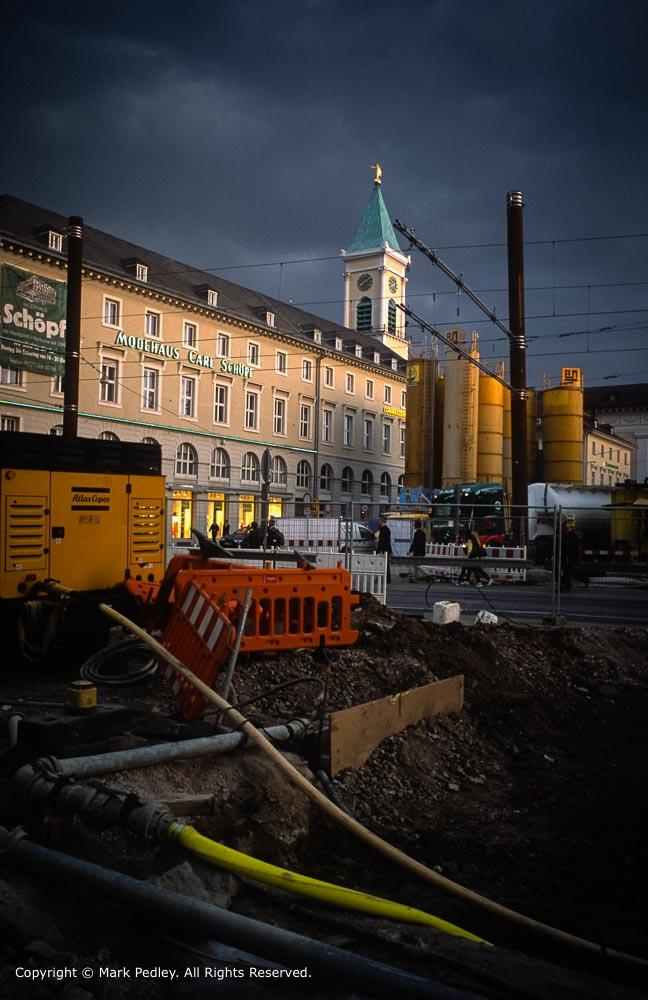Construction site Marktplatz, Karlsruhe. Leica MP, Summicron 28mm f2.0, Fuji Provia 100.