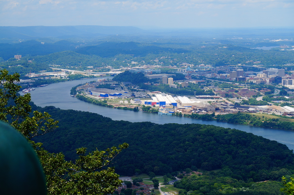 Chattanooga as seen from Point Park on Lookout Mountain courtesy of  Earl Ayers .