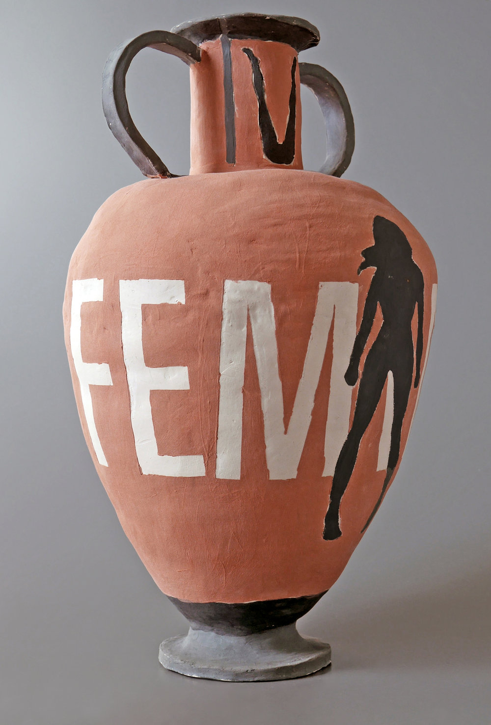 "Ella Chodos-Irvine Ceramics I, Fall 2014 ""Historic/Pop"" Assignment white stoneware, cone 6 oxidation, slip, glaze 8"" x 8"" x 12"""