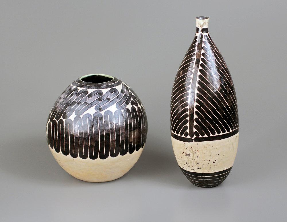 "Connor O'Hern Ceramics II, Fall 2012 ""Surface Experiments #1"" white stoneware, cone 6 oxidation, underglaze, glaze 7"" x 7"" x 7"", 5"" x 5"" x 12"""