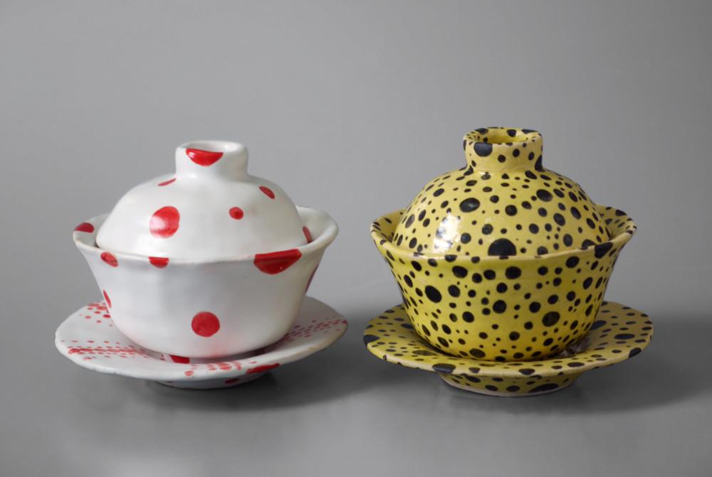 """Eun Kang Ceramics I, Fall 2014 """"Personal Composite Forms"""" Assignment white stoneware, cone 6 oxidation, slip, glaze 9"""" x 4"""" x 3"""""""