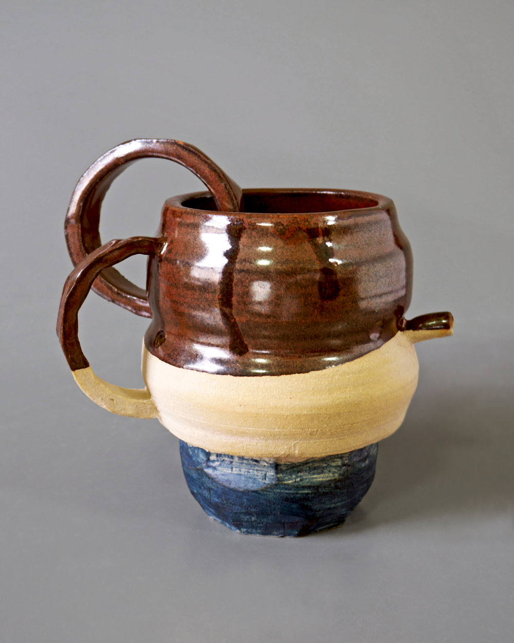"Elizabeth Quick Ceramics I, Spring 2014 ""Thrown and Altered"" Assignment white stoneware, cone 6 oxidation, underglaze, glaze 6"" x 10"" x 6"""