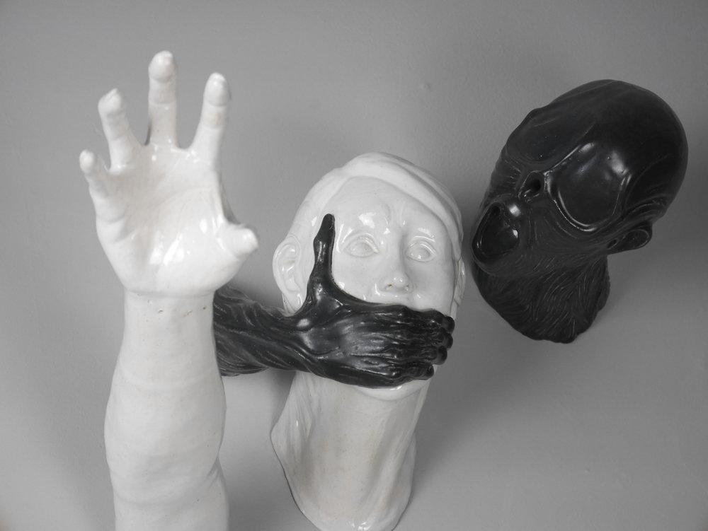 "Darold Flynn Advanced Spatial Arts, Spring 2017 White stoneware, glaze, cone 10 oxidation 19"" x 13"" x 19"""