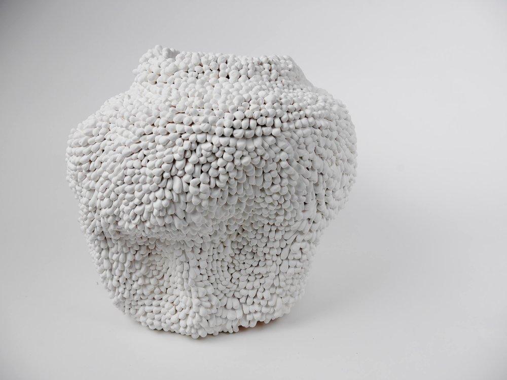 "Morgan McKnight Advanced Spatial Arts, Spring 2017 Pollen Vase white stoneware, underglaze 16"" x 15"" x 18"""