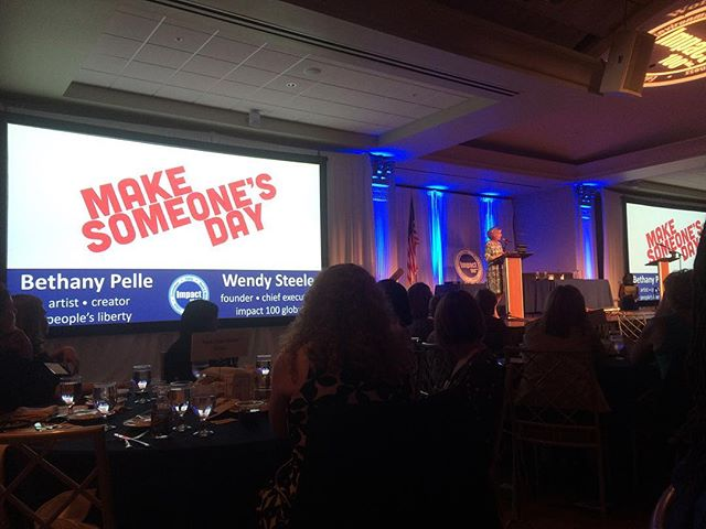 "What an honor! Last night I had the privilege to present an arrangement of porcelain flowers created at @make_someones_day_cincy by our community to @impact100cincinnati founder Wendy Steele with during their annual awards ceremony! This incredible foundation of women philanthropists pools member contributions of $500-$1000 to create grants of no less than $100,000! These large grants are awarded to local nonprofits serving families, the environment, health & wellness, education, and culture! Congratulations to this year's winners: @outdooradventureclubs, @veniceon, @wavepoolgallery, and @citygospelmission. ""Women Together,  Changing Lives."" #impactwhywecare"