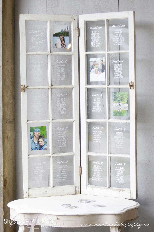 Wedding Seating Chart- White Calligraphy on Window Panels