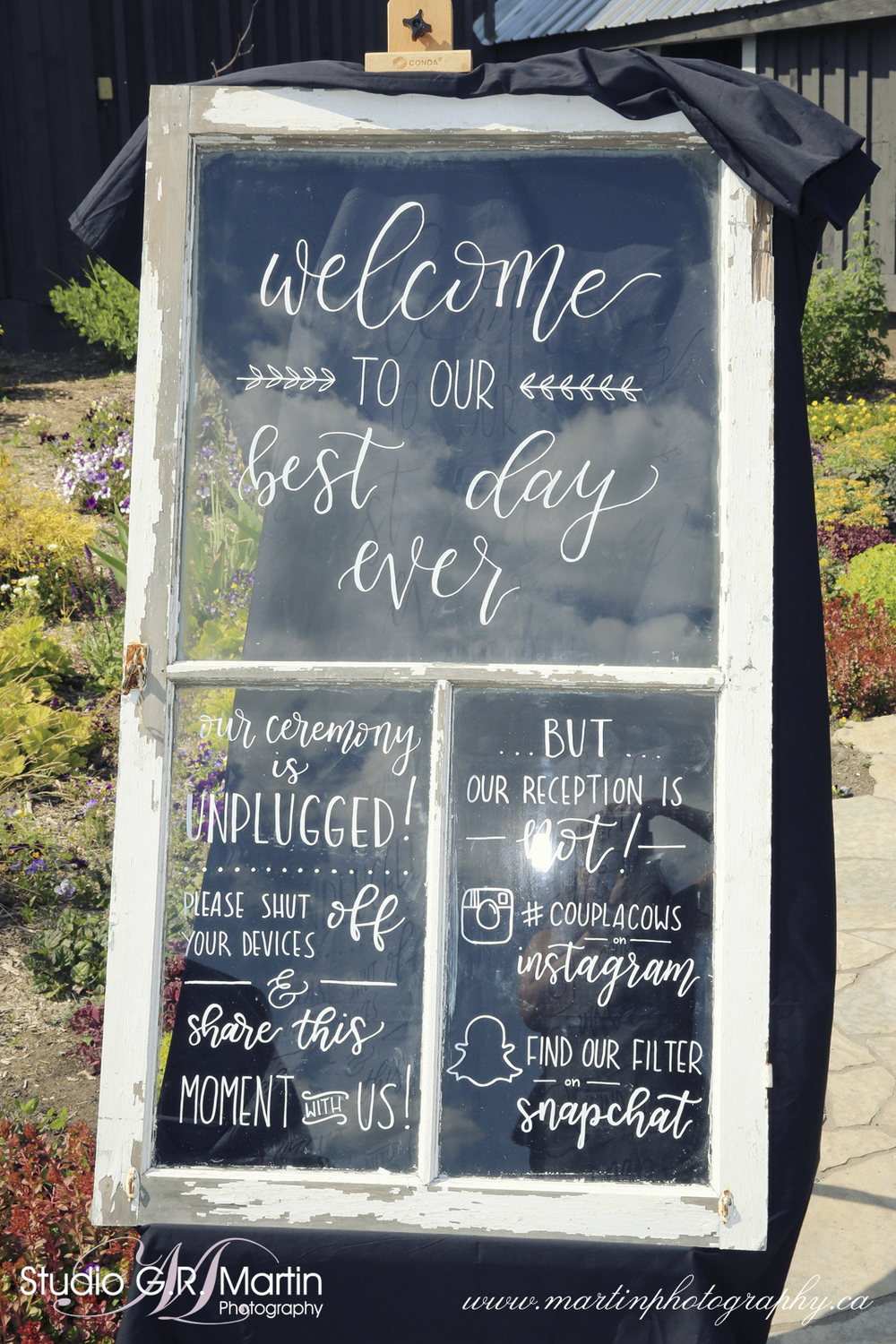 Window Panel Modern Calligraphy Welcome to our Wedding Signage