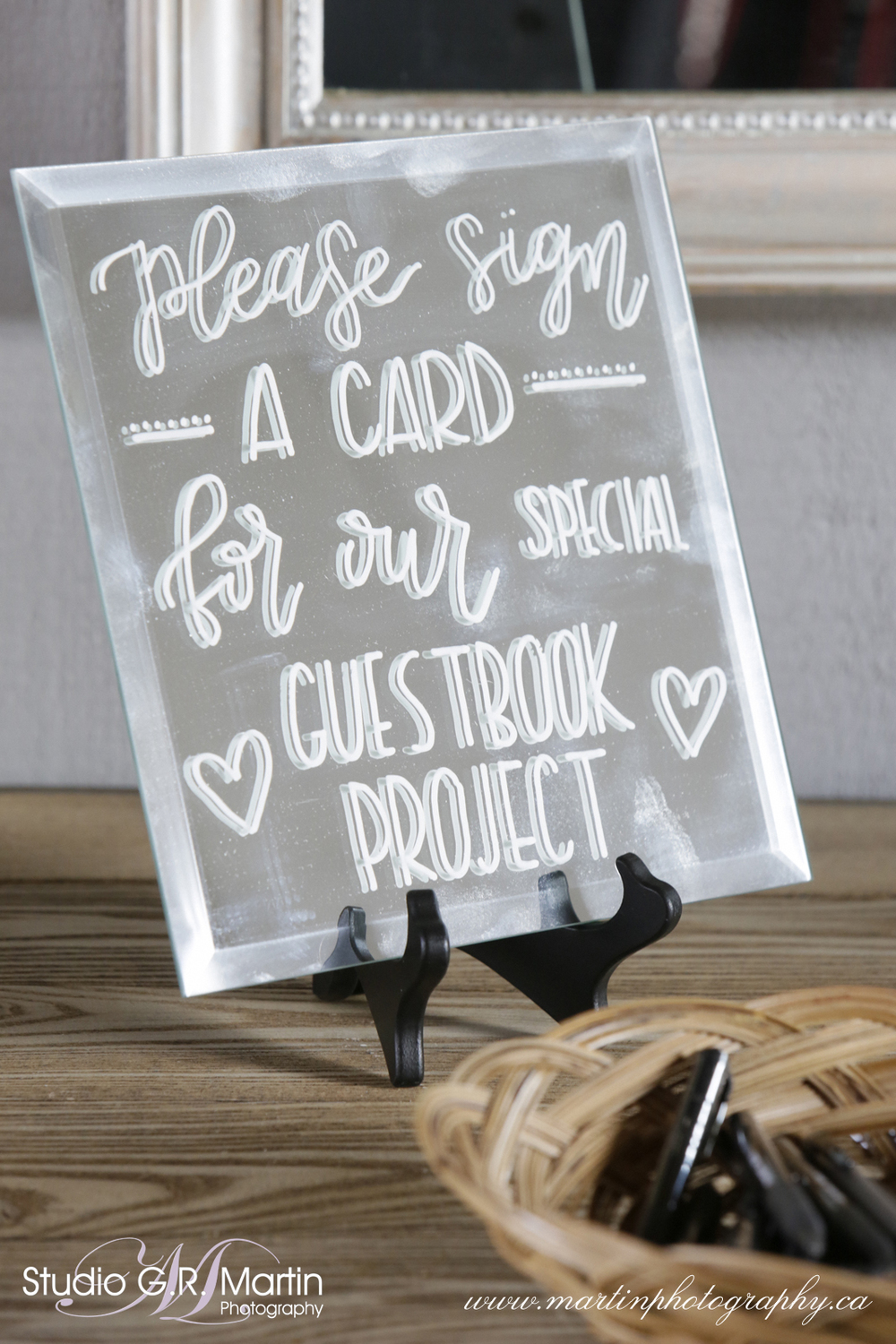 White Lettering Wedding Signage on Mirror