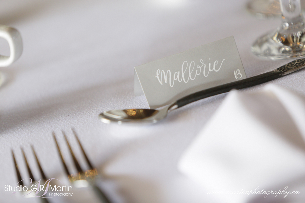 White & Grey Modern Calligraphy Wedding Placecards
