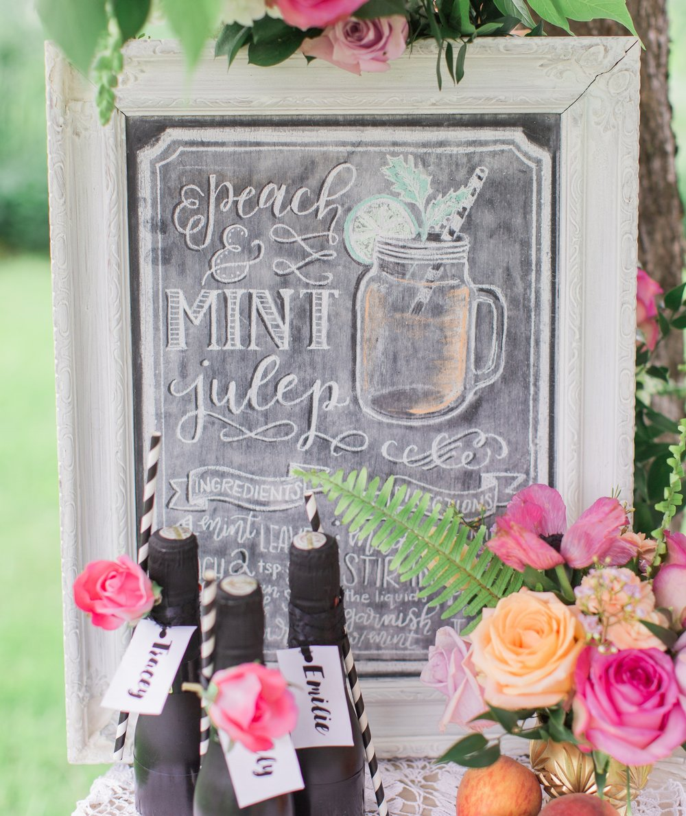 Drink Menu Calligraphy Chalkboard- Peach & Mint Julep