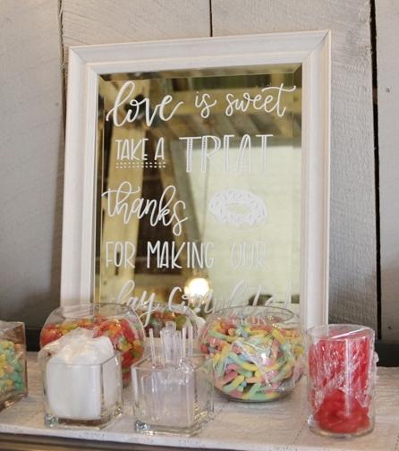 White Chalk Lettering on Mirror for Wedding Dessert Table