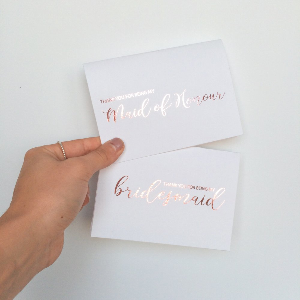 Pink Foiled Bridesmaid & Maid of Honour Modern Calligraphy Cards
