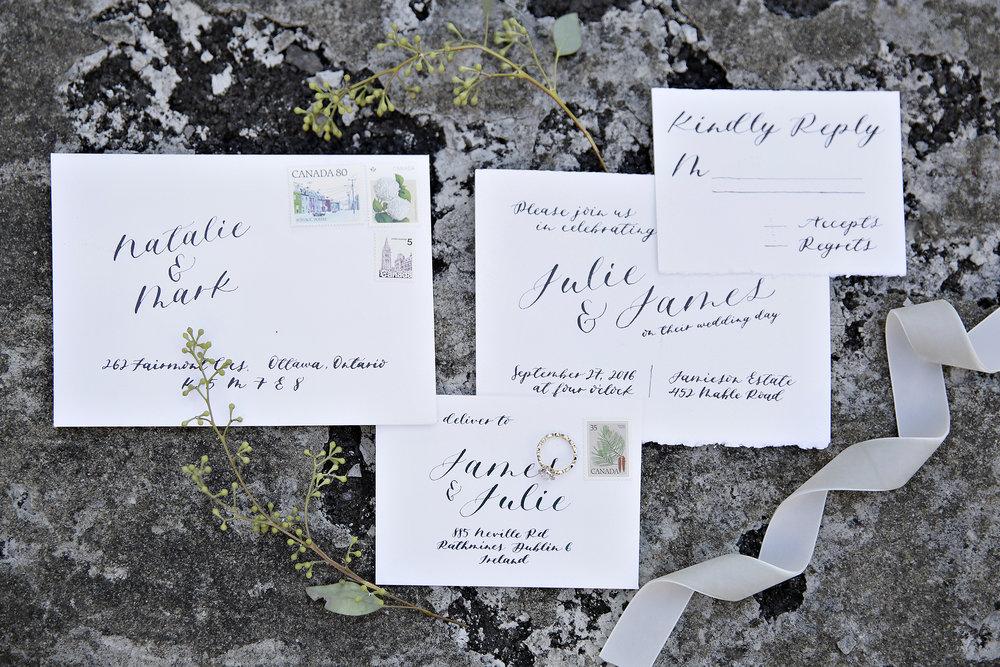 Modern Calligraphy Wedding Invite Suite- Invite, RSVP, Envelope Calligraphy