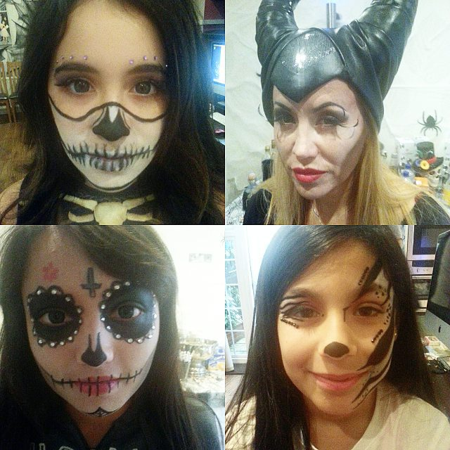jess-summer89 :     Bye bye halloween :( until next year!   Here are some of the beautiful faces i got to play with from the last few days #byehalloween #halloween #maleficent #dayofthedead #skull #zebra #makeup #facepaint #jems #mua #makeup