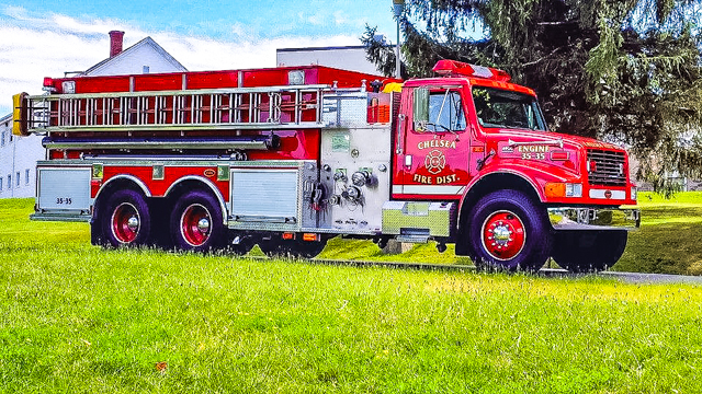 "Chelsea Tanker 35-35  1998 KME/ International  Pump:  1,250 GPM   Tank:  3,000 Gallons of Water   Equipment:  2,000 Feet of 5"" Hose and a 2,000 Gallon Porta-Tank."