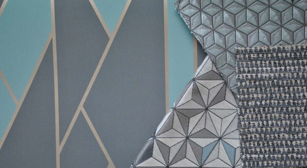 Material board and picture by   ©  Detail Movement . From left: Geometric II wallpaper by Cole&Son; middle: Equinox by Brentano fabrics; middle above: Merrington by Sanderson; right: Cristal by Jim Thompson.