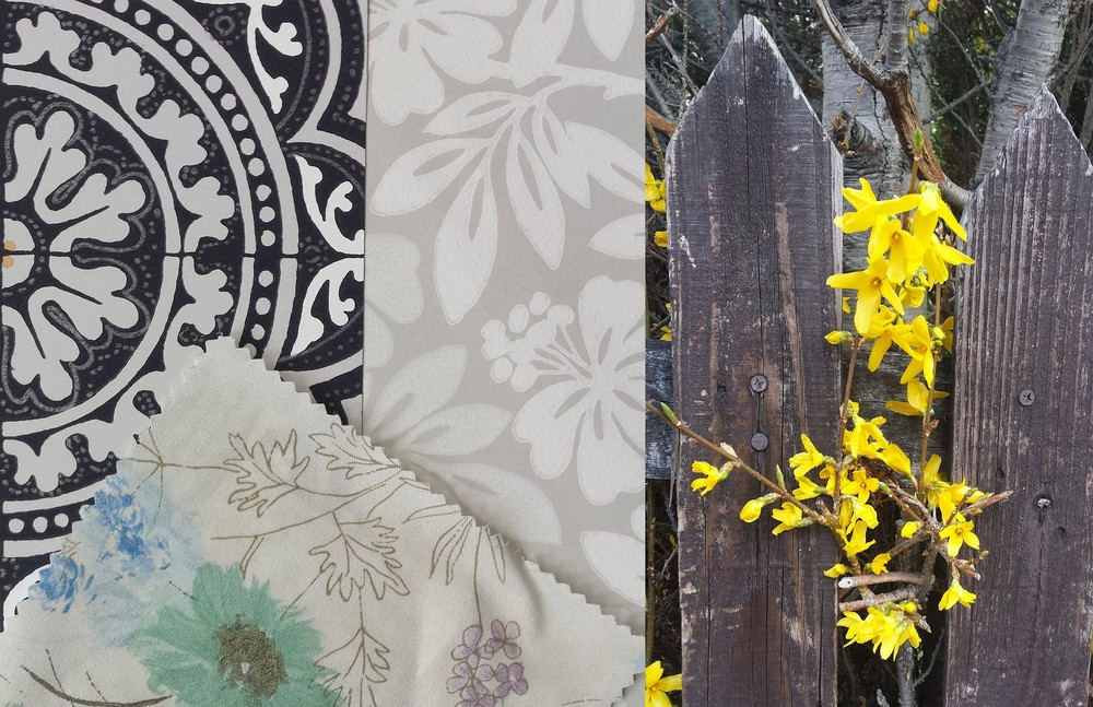 ©Detail Movement_flowers, left wallpaper from cole&son - albemarle piccadilly, middle wallpaper from little greene - carlisle street - gentle grey, bottom fabric from designers guild - wild flower