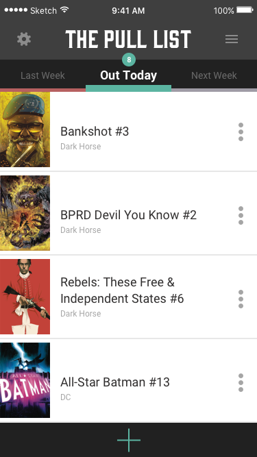 App design for a comic book pull list (part 1).
