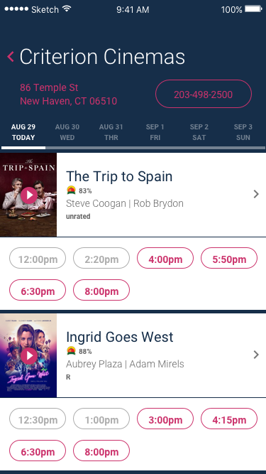 Redesign of interior screen for the app Flixster.