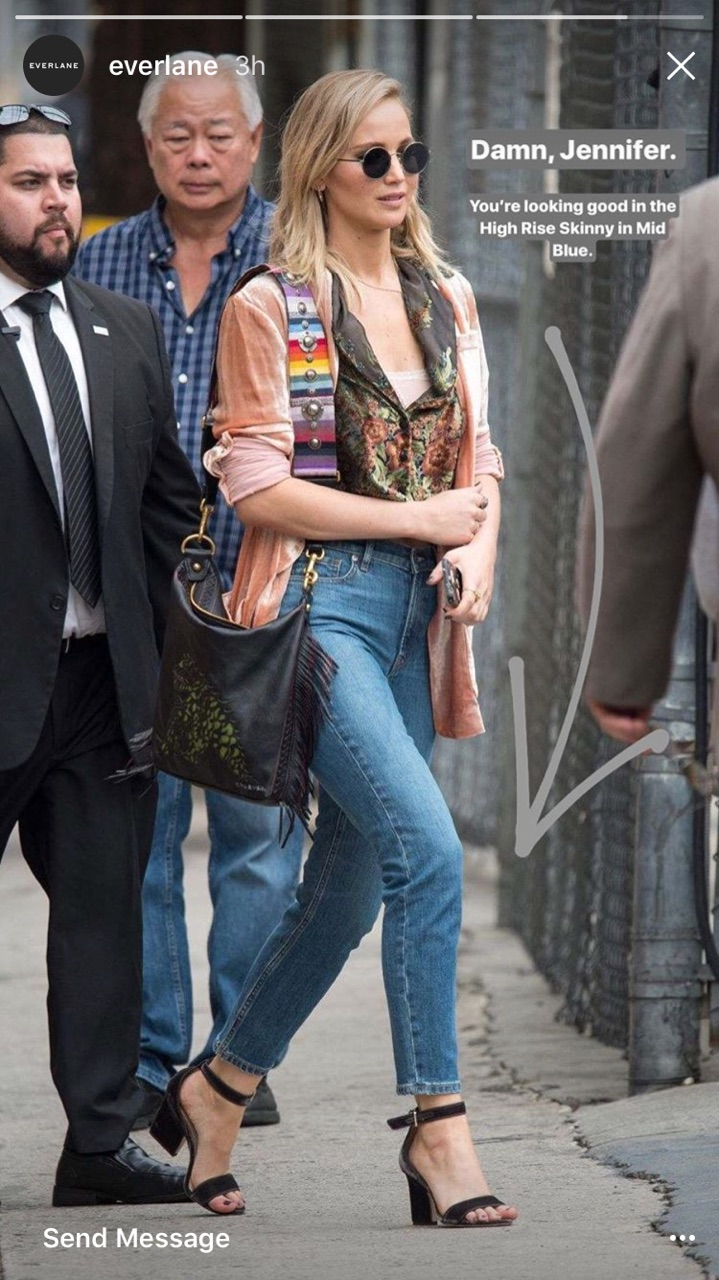 Jennifer Lawrence in EVERLANE DENIM.
