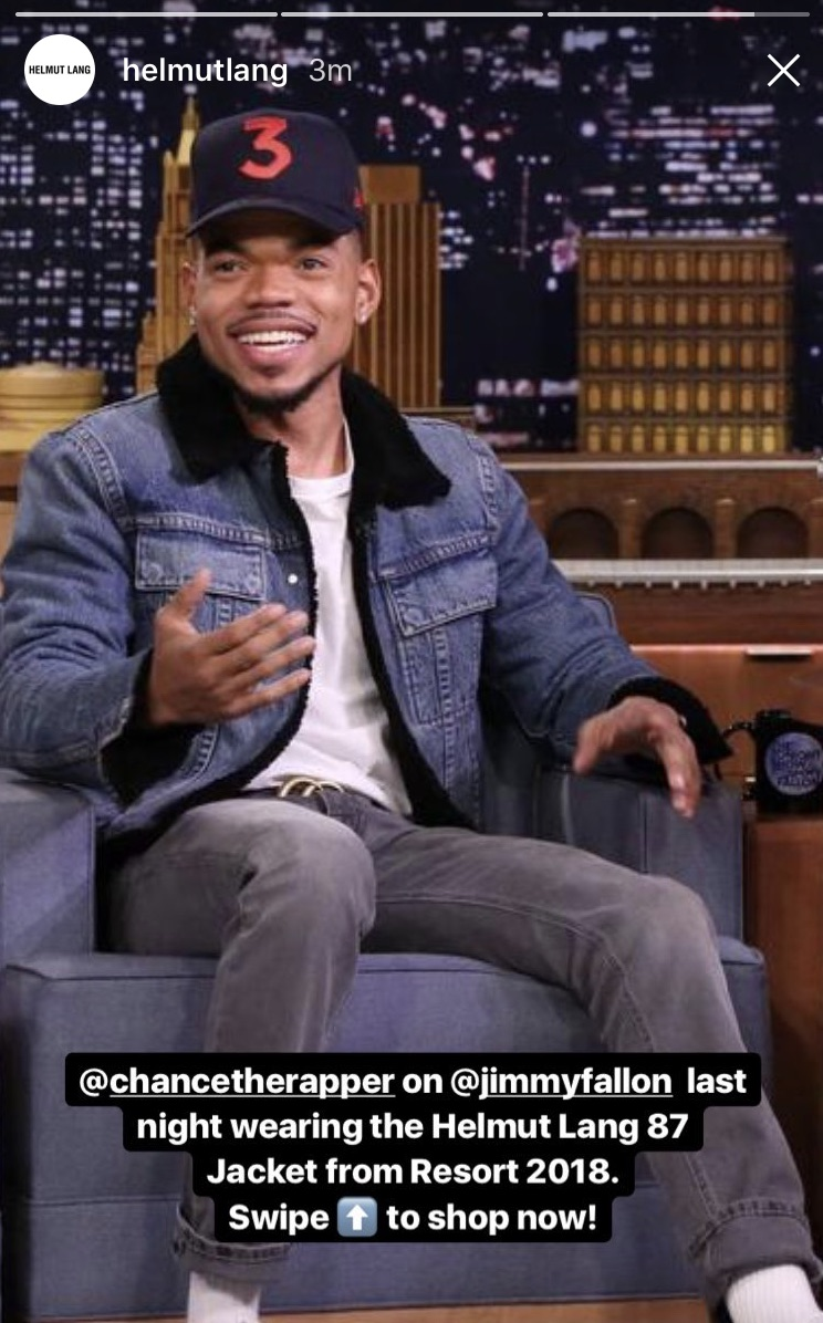 Chance the rapper in Helmut Lang Jeans