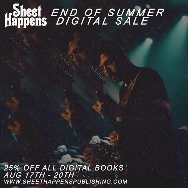 All digital transcriptions are currently 25% off at @sheethappenspublishing including both of our albums. Learn every note and riff along with the boys.
