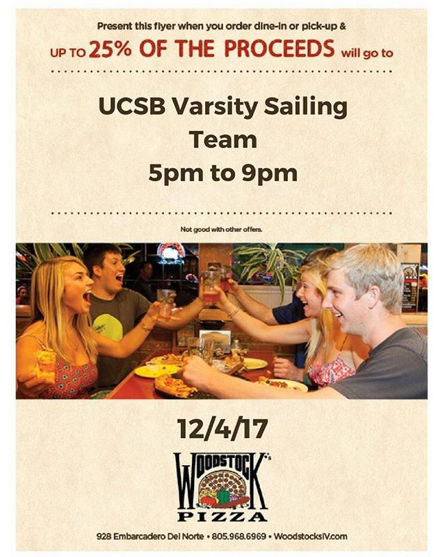 Come on down to Woodstock's tonight for some pizza and help out your favorite sailors!