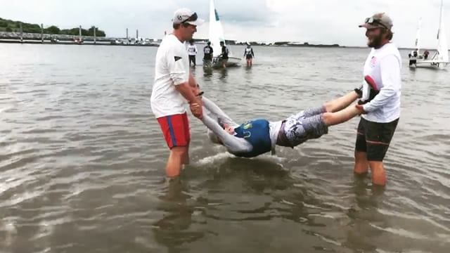 Only one way to celebrate the fierce freshmen that came in clutch to take us to Nattys! Huge congrats to @lucasrpierce3 and @sam_obel. The National Championship is live now! Follow along on Facebook and find the scores at scores.collegesailing.org. ¡Olé!