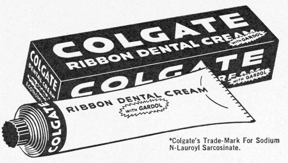 Image credit http://pzrservices.typepad.com/vintageadvertising/2015/02/vintage-toothepaste-tubes.html - Colgate toothpaste circa 1912