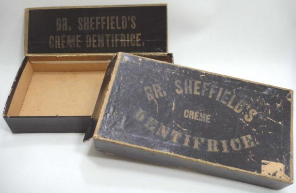 Image source http://connecticuthistory.org/aristocratic-dental-cream-gets-squeezed/ - Dr Sheffield's Creme Dentrifice circa 1895